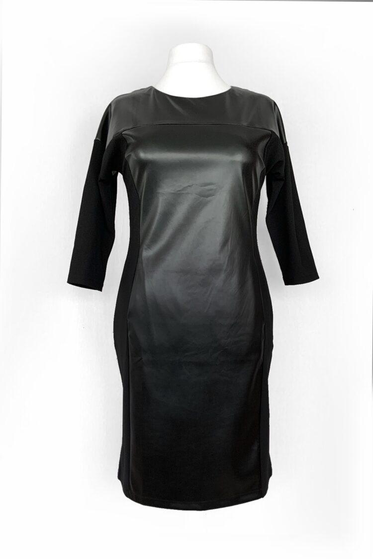 Juoda suknelė iš dirbtinės eko odos ir trikotažo