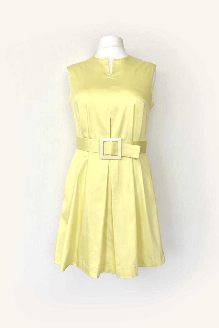 Geltona pastelinė vasarinė suknelė su diržu