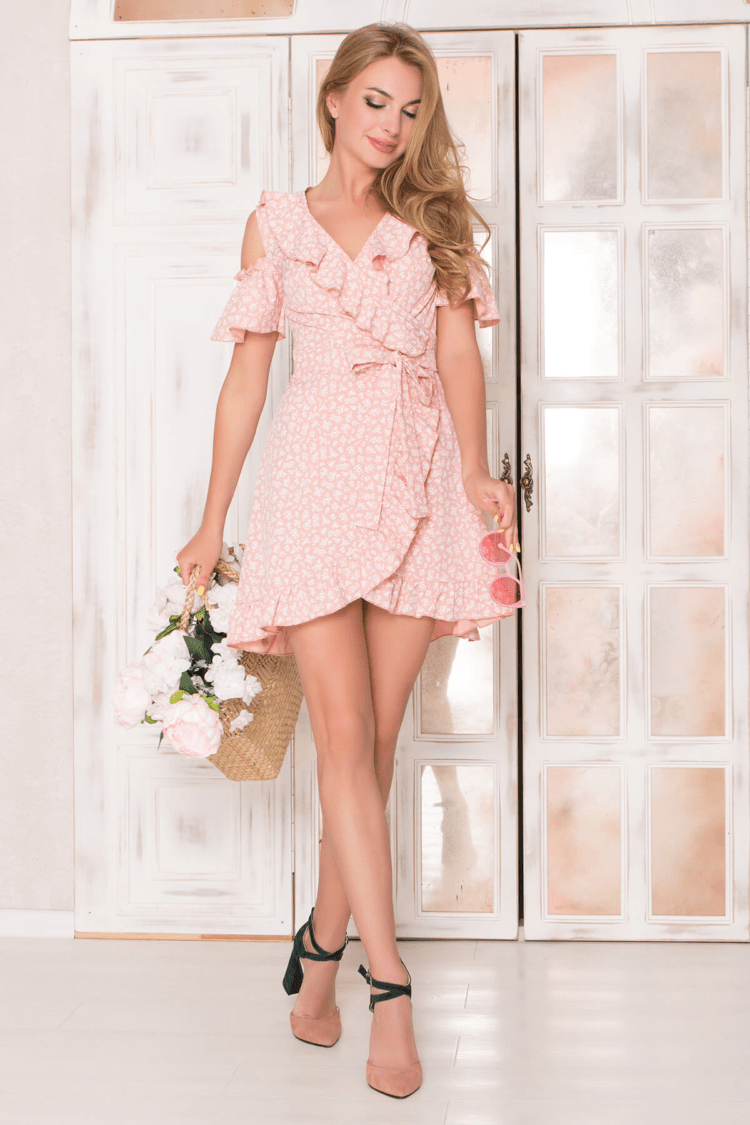 Rožinė vasarinė pastelinė suknelė