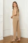 Smėlio spalvos laisvas lengvas dviejų dalių kostiumėlis
