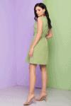 Žalia pastelinė vasarinė suknelė su diržu