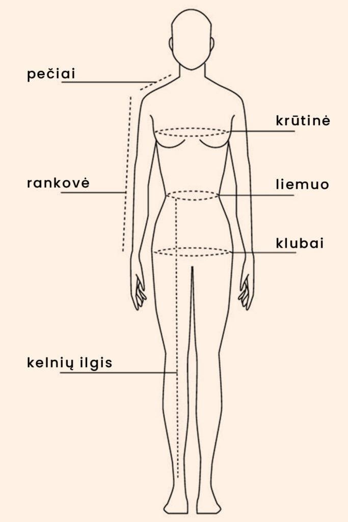 moteris drabužių dydžių išmatavimai klubai liemuo krūtinė ilgis rankovė pečiai