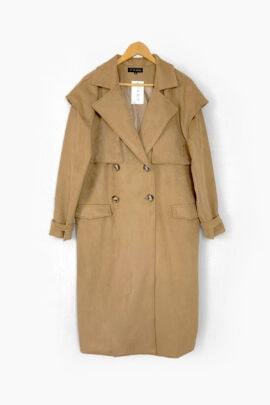 smėlio spalvos susegamas paltas su diržu